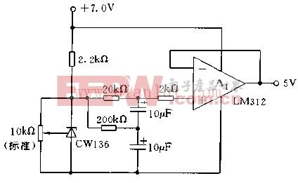 采用136 5.0V构成的5V低噪声缓冲电压基准电路图