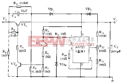采用A723构成的高效能低功耗稳压电源电路图
