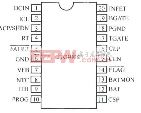 LTC4008的内部结构及外部元件连接电路图