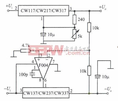 正、负输出电压跟踪的集成稳压电源电路