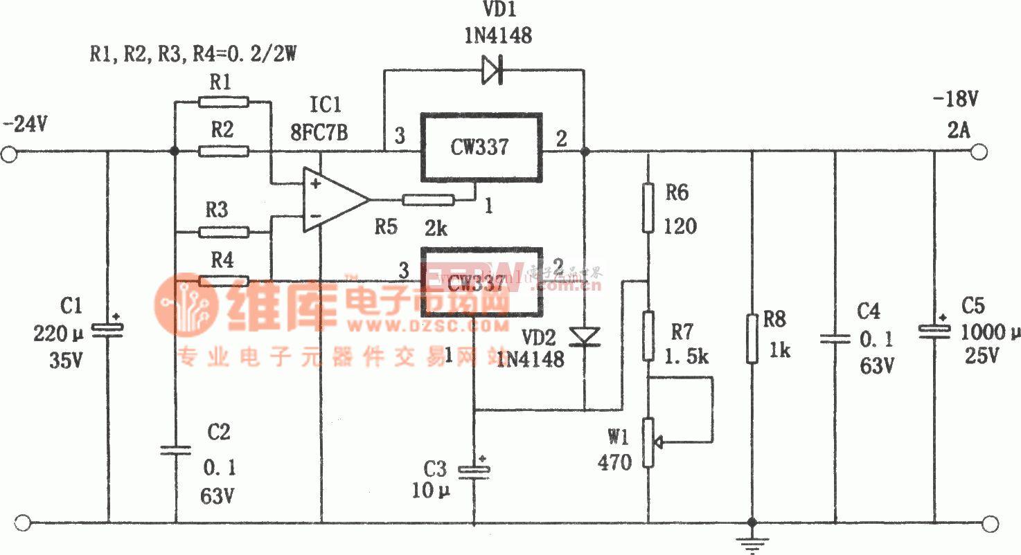 CW337构成并联扩流的-18V、2A电源