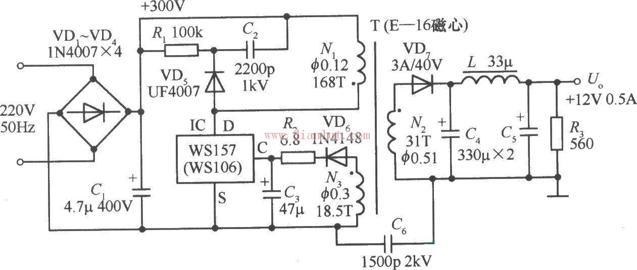 .5A单片开关稳压电源电路图,220V变12V原理图图片