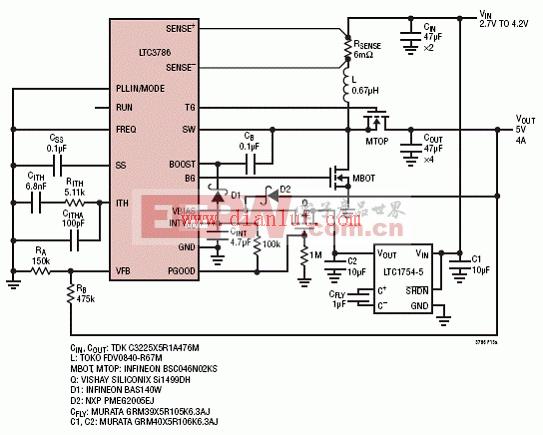 6低IQ锂离子5V/4A升压转换器电路-LTC3786高效率同步升压电源电路