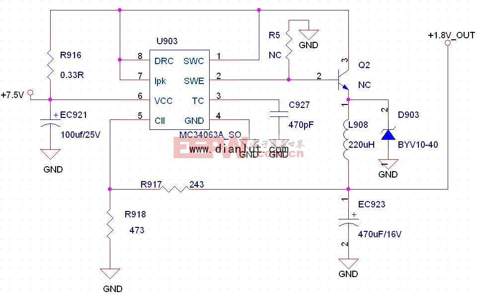 C34063 24V转5V电路图片