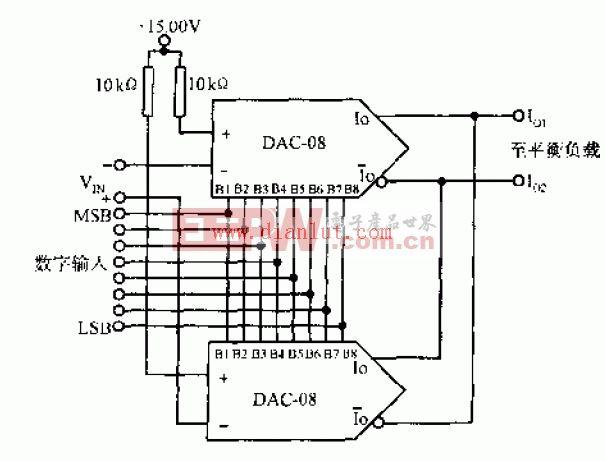 DAC-08构成的4象限乘法电路