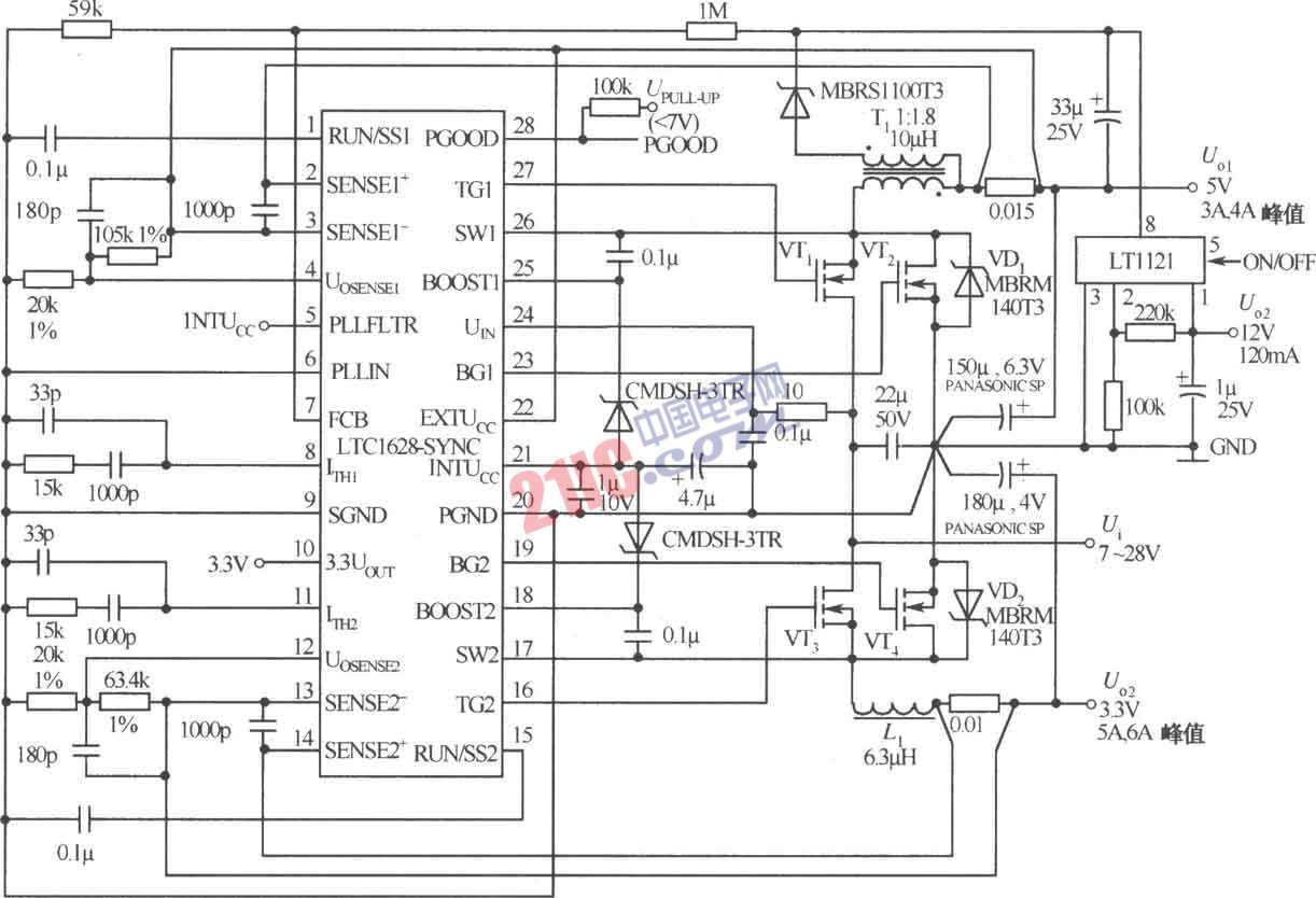 由LTC1628-SYNC构成的三路直流电路