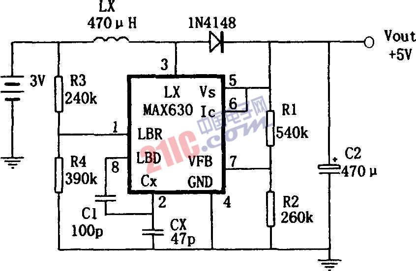 MAX630构成的频率自动偏移的升压变换电源电路