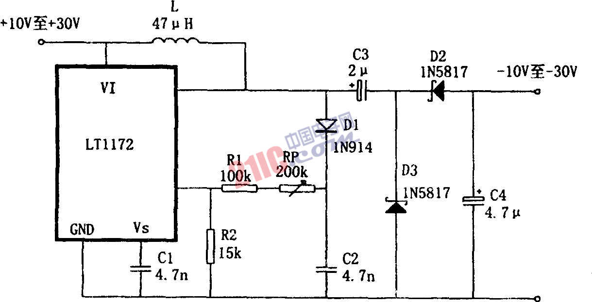 LT1172设计的极性反转型升压电源电路
