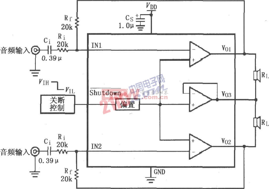LM4910设计的双声道放大器电路