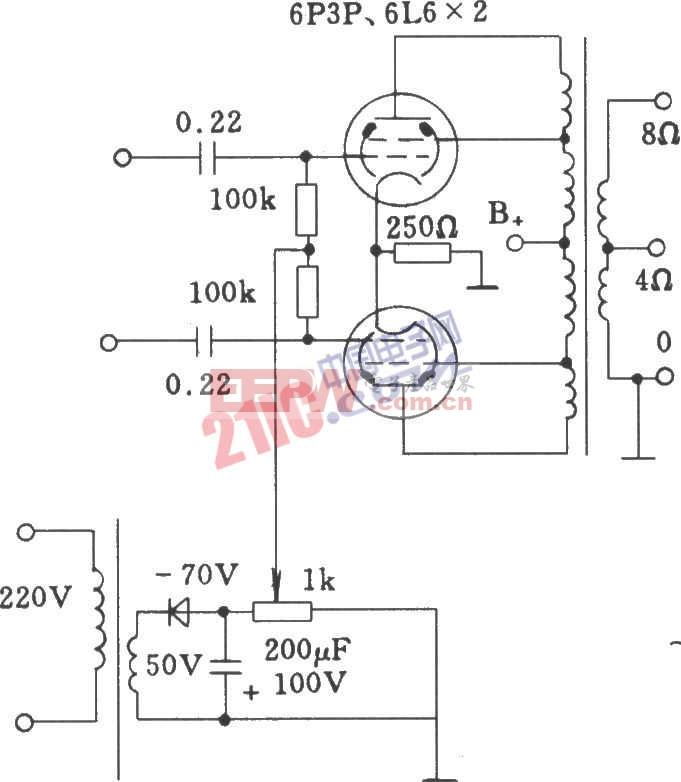 电子管固定栅独立负压电源供给功放电路