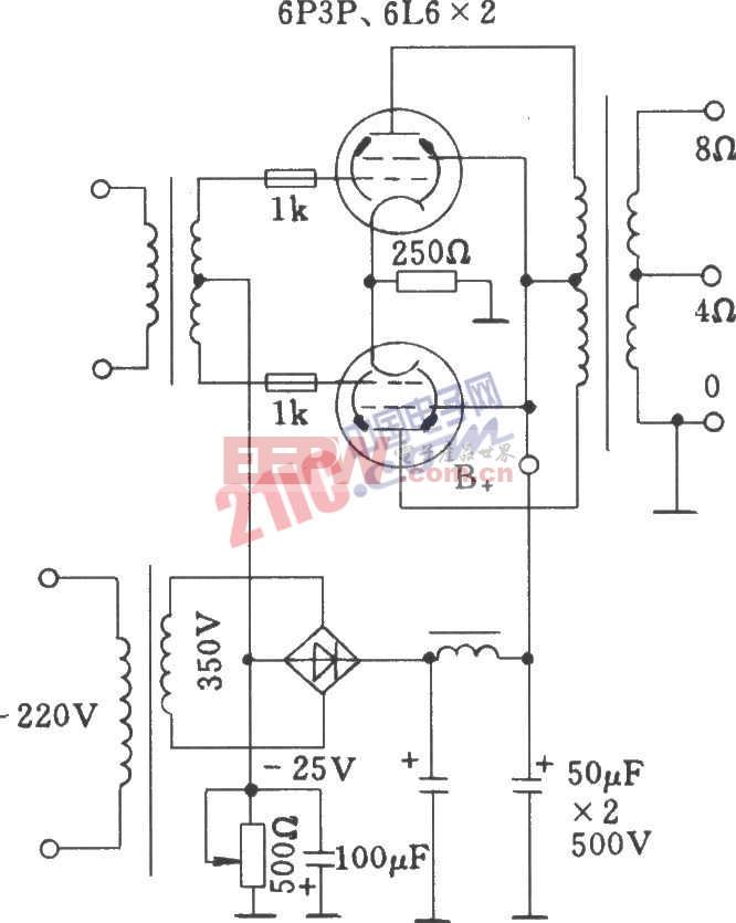 电子管固定栅通过电源高压绕组中分压取出负压方式功放电路