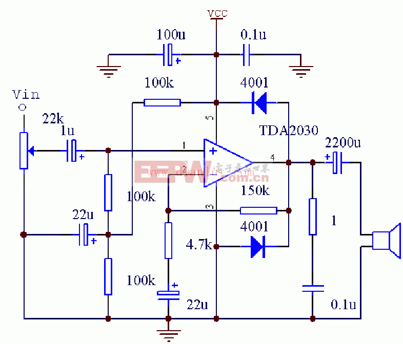 TDA2030单电源接法电路