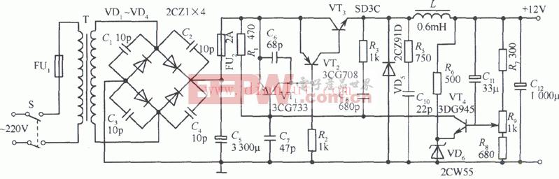晶体管开关稳压电源应用电路