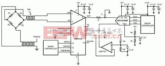 基于LMP8358差分桥接传感器应用电路图