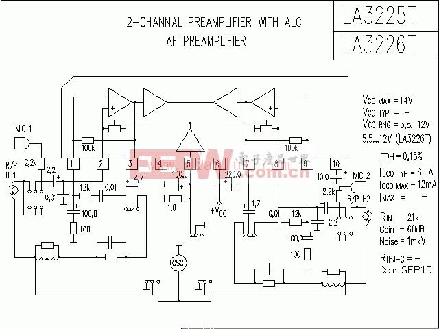 LA3225T,LA3226T构成的功放电路