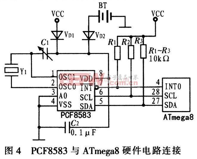 PCF8583与ATmega8硬件连接电路