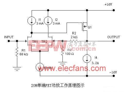 20W-50W单端FET纯甲类功放电路