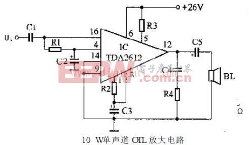 10W单声道OTL功率放大器电路图片