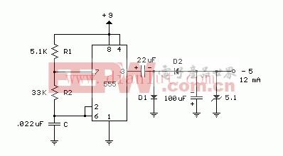 [5v到9伏电池电路 ]的电路图    555定时器可以用来产生一个方波产生