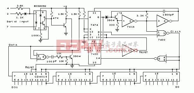 PC机串行接收器电路(57.6K波特率/的TTL及CMOS)