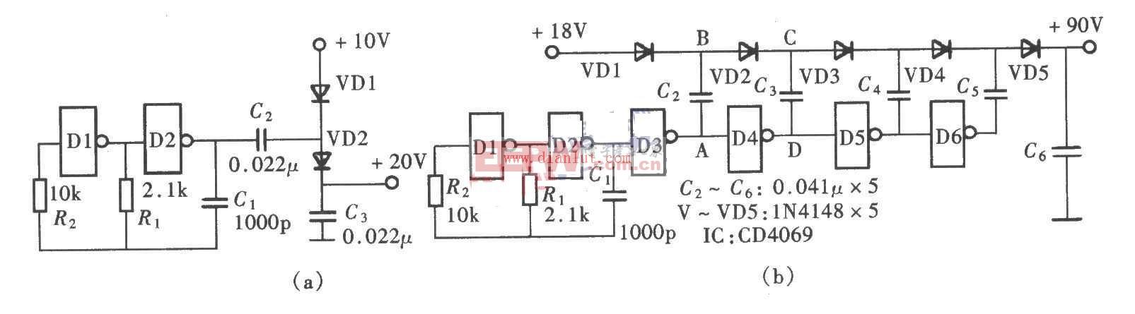 电路 升压 cd4069/下面是[CD4069倍压升压电路]的电路图