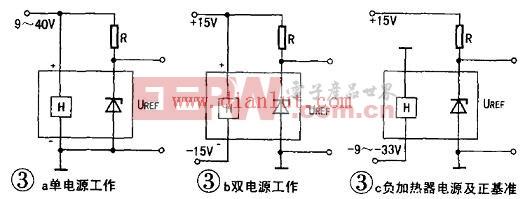 使用LM399时应注意的是,因其温度系数是有保证的.决定基准电压精度的主要矛盾转移到动态电阻上。在要求基准精度极高时.为基准芯片供电的工作电流必须恒定。如果如图3所示,基准芯片工作电流是由电源通过电阻提供,则要求供电电源必须恒定。笔者在研制高精度控温设备时发现,仅由普通三端稳压器如LM7809等次稳压供电的电源.在市电波动较大时其稳定度是不够的。相关实验数据如附表所示: