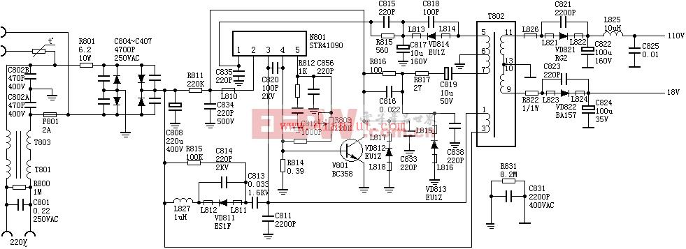 STR41090自激式并联型开关电源电路