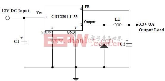 12V输入3.3V 3A输出的降压电路图片
