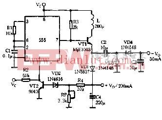 555组成直流升压变换电路图片