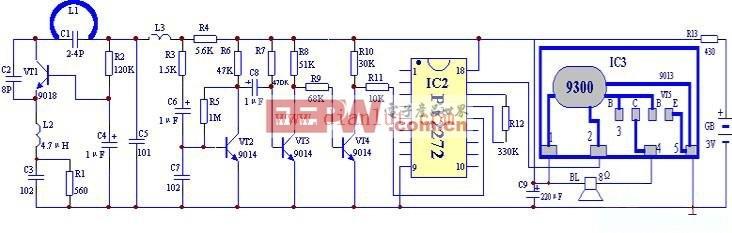 门铃 遥控 编码 电路图/JC618型无线编码遥控门铃发射部分的原理电路图 JC618型编码...