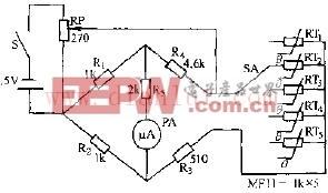 MF53--型热敏电阻器测温仪电路