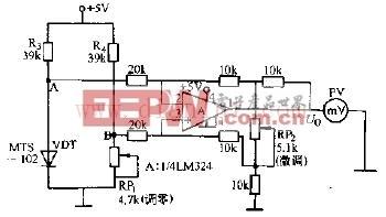 温敏二极管电桥0-100度温度计电路