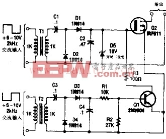 双重控制的六端场效应管开关-燃气灶点火器电路图