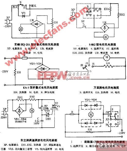 艺峰HQ-201型电吹风电路图全集