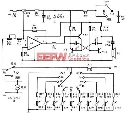 听觉电压表电路图