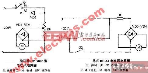 神马牌CM-9803电吹风电路