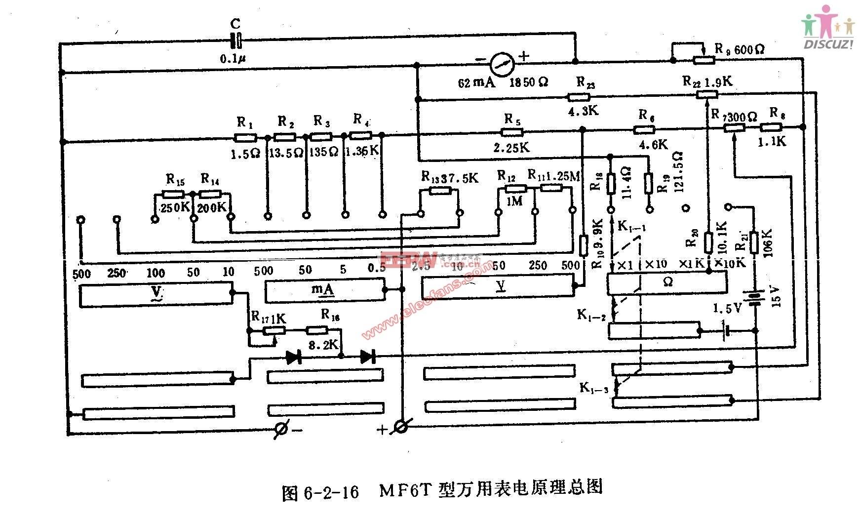MF6T型万用表电路图