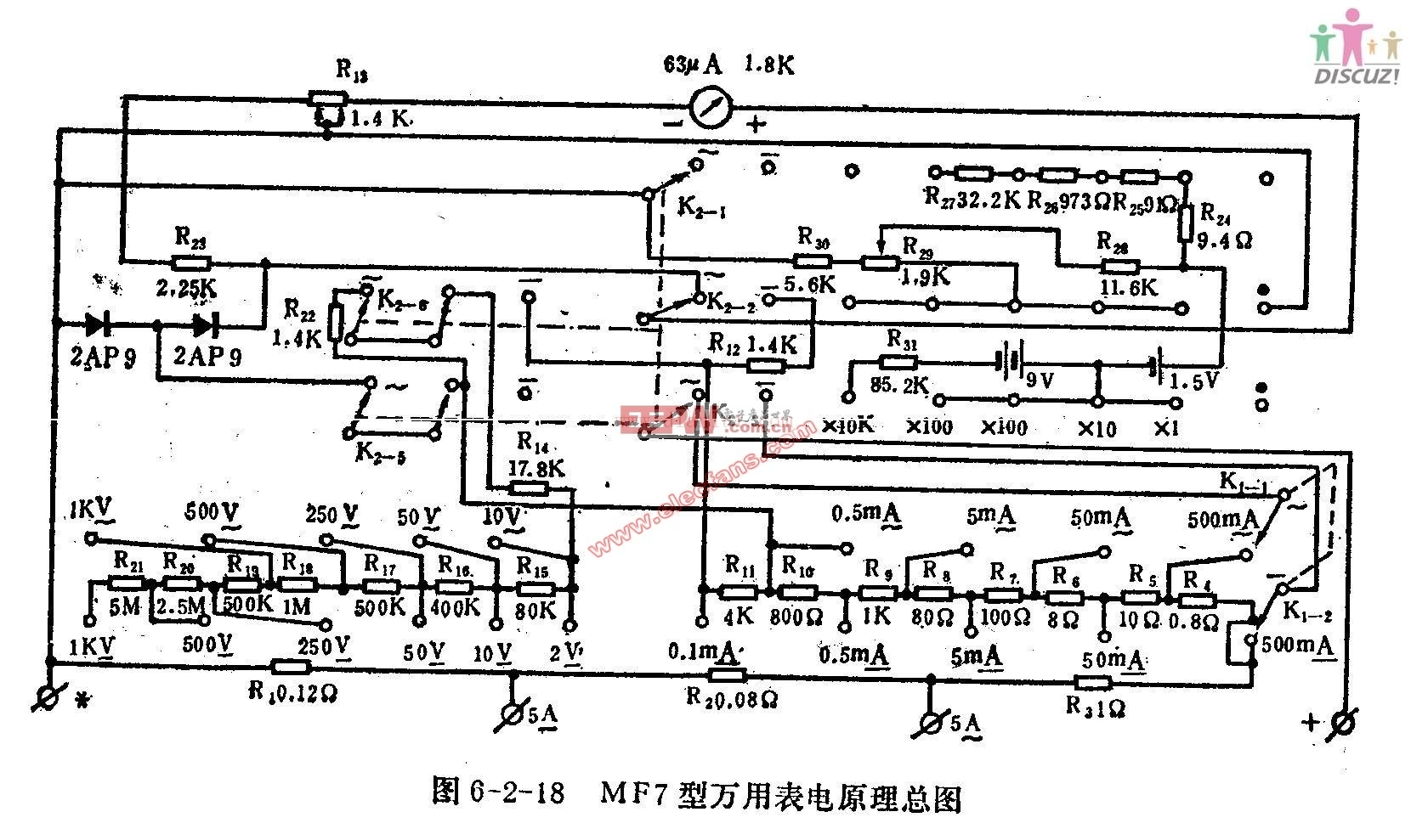 MF7型万用表电路