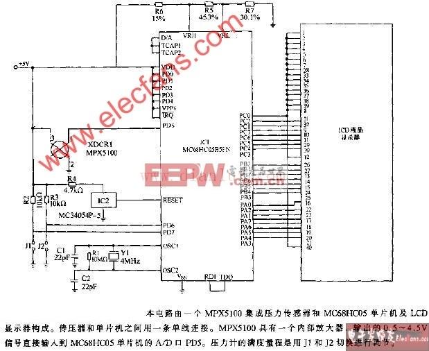 MPX5100 LCD压力计电路 www.dianlut.com