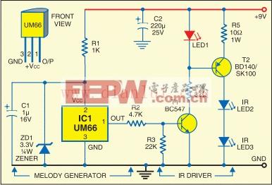 红外音乐传输器和接收器电路