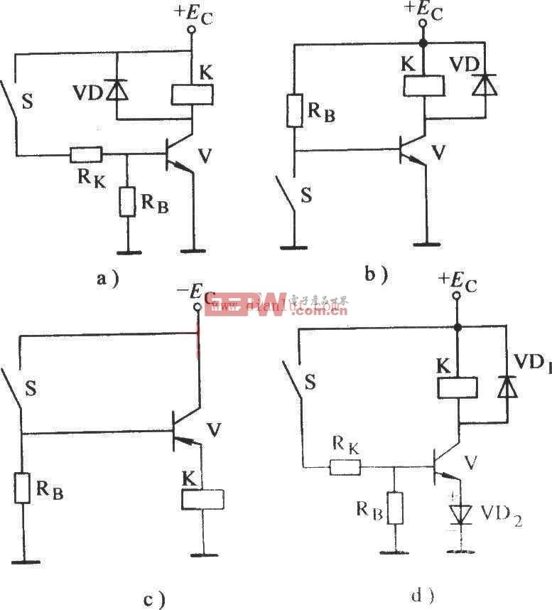控制基极晶体管电子继电器电路