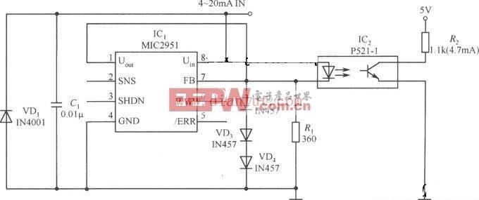 MIC2951设计的电流环开路探测器电路