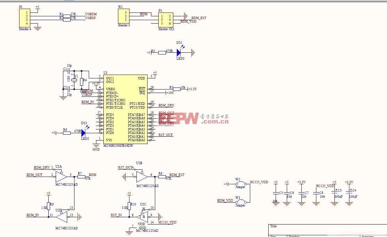 S12仿真器BDM的电路图