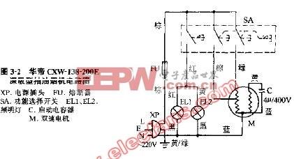 华帝cxw-138-200e深吸型抽油烟机电路图