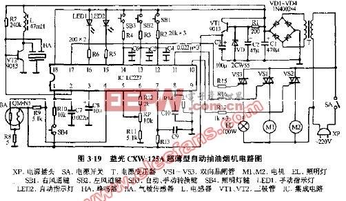 益光cxw-125a超薄型自动抽油烟机电路图