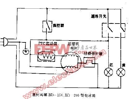 奥柯玛牌BD-150,BD-20G型电冰箱电路图