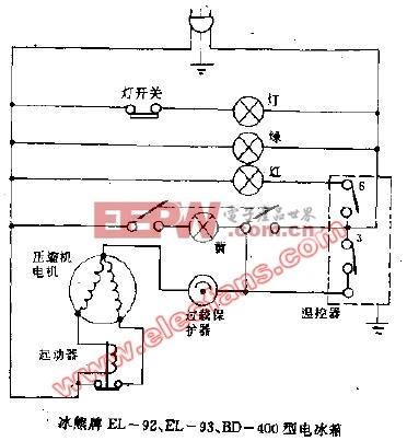 冰熊牌EL-92,EL-93,BD-400型电冰箱电路图