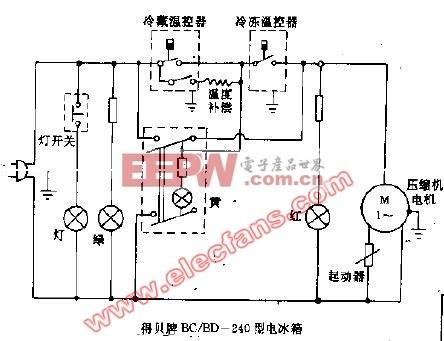 得贝牌BC/BD-240型电冰箱电路图
