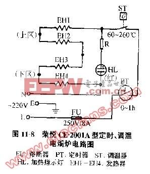 荣悦CE-2001A型定时调温电焗炉电路图