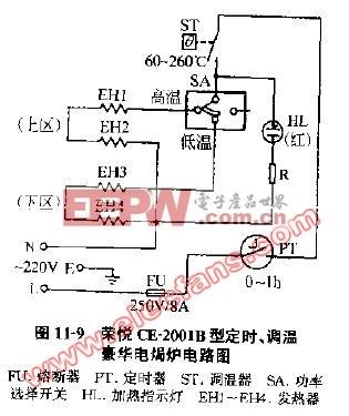 荣悦CE-2001B型定时调温豪华电焗炉电路图